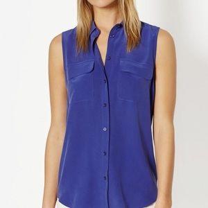 Equipment signature slim sleeveless silk blouse